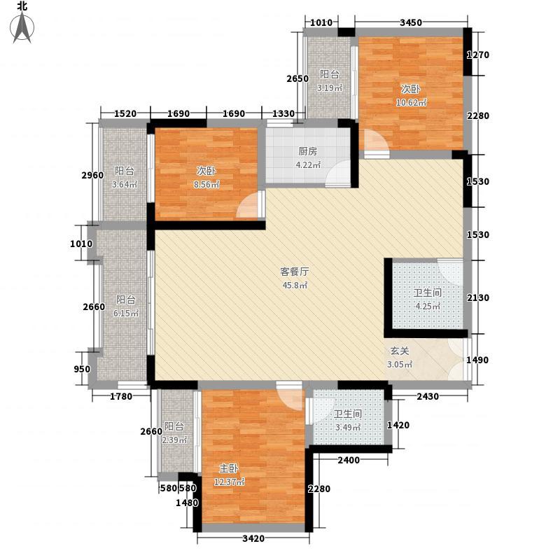 碧园花城136.00㎡8栋-d户型3室2厅2卫1厨