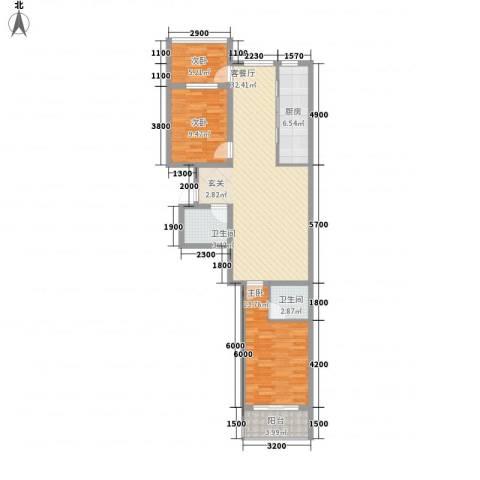 华兴太阳城・东领伯爵3室1厅2卫1厨112.00㎡户型图