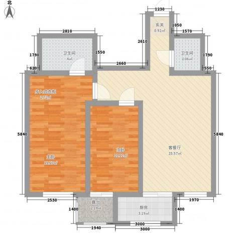华兴太阳城・东领伯爵2室1厅2卫1厨63.36㎡户型图