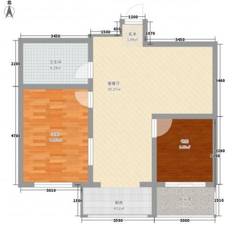 浑河国际城2室1厅1卫0厨96.00㎡户型图
