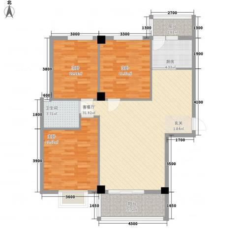 禧福泛海时代3室1厅1卫1厨117.00㎡户型图
