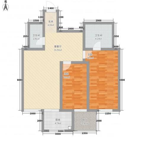 华兴太阳城・东领伯爵2室1厅2卫1厨112.00㎡户型图