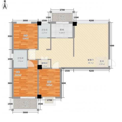 禧福泛海时代3室1厅2卫1厨115.00㎡户型图