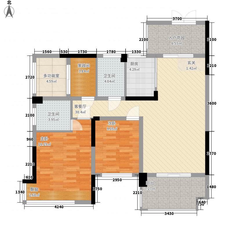 春风玫瑰园四期1.58㎡四期C2a户型3室2厅2卫1厨