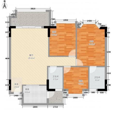 南港名轩3室1厅2卫1厨114.00㎡户型图
