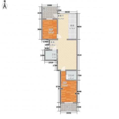 华兴太阳城・东领伯爵2室1厅2卫0厨73.30㎡户型图