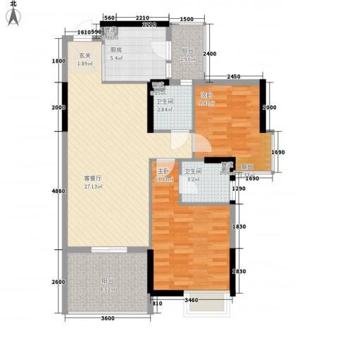 城市花园・莲兴阁2室1厅2卫1厨72.65㎡户型图