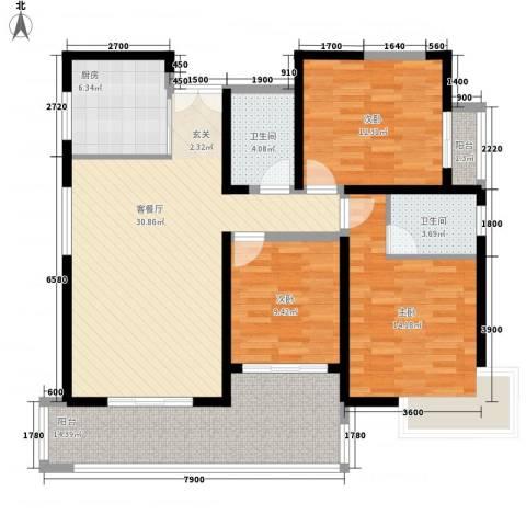 亿龙金河湾3室1厅2卫1厨124.00㎡户型图