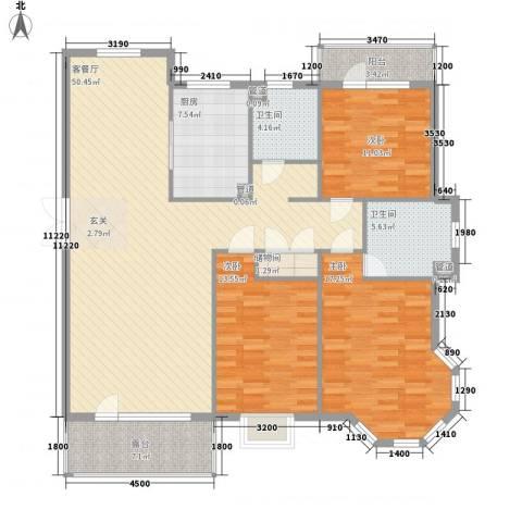 阳光海岸3室1厅2卫1厨134.16㎡户型图