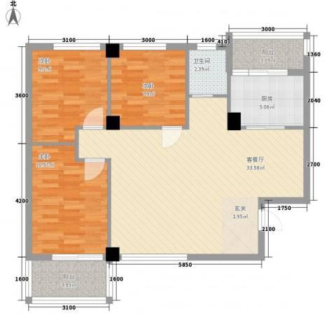 禧福泛海时代3室1厅1卫1厨107.00㎡户型图
