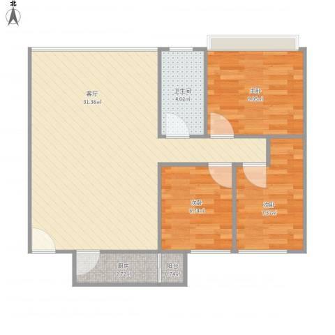 君怡花园3室1厅1卫1厨84.00㎡户型图