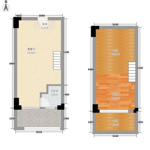 领会1室1厅1卫0厨54.00㎡户型图