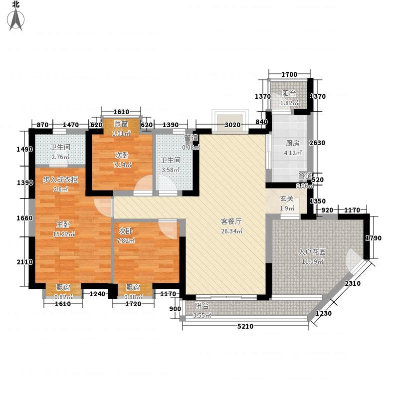中海金沙湾121.72㎡A3栋5~27层03户型3室2厅2卫1厨