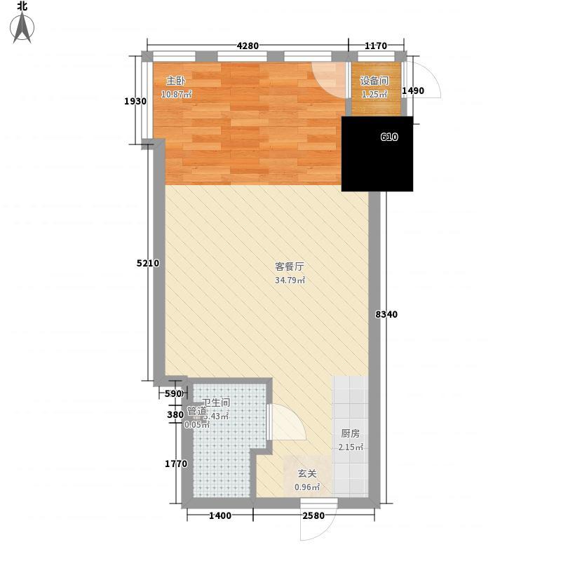 力高滨江国际55.80㎡天郡单层公寓14-23层B户型1室1厅1卫