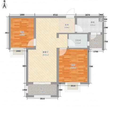 金光大道2室1厅1卫1厨88.00㎡户型图