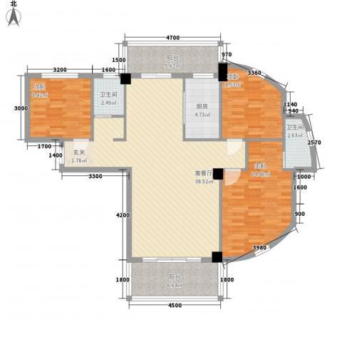 禧福泛海时代3室1厅2卫1厨130.00㎡户型图