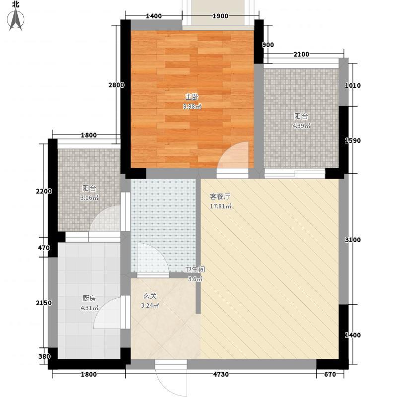 江岸国际56.77㎡15#5号房户型1室2厅1卫1厨