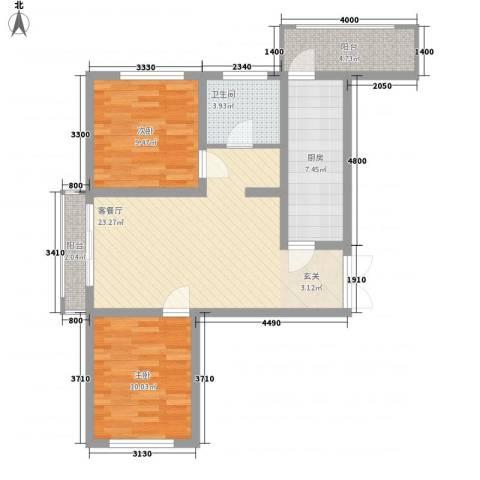 欣豪尚品2室1厅1卫1厨60.92㎡户型图