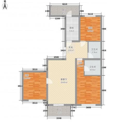 欣豪尚品3室1厅2卫1厨136.00㎡户型图