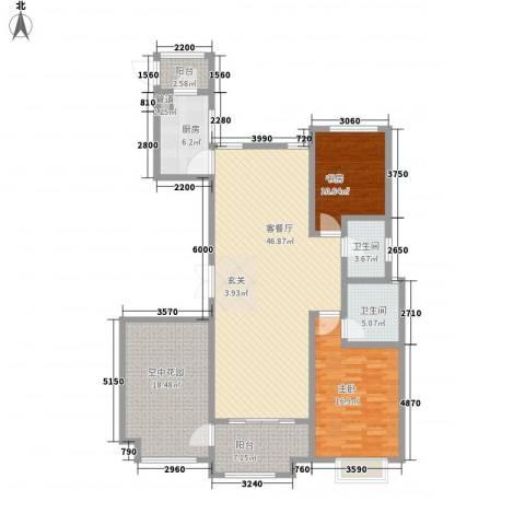 华富世家2室1厅2卫1厨169.00㎡户型图