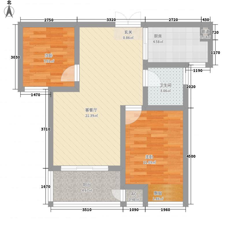 东方福郡77.40㎡C2户型2室2厅1卫1厨