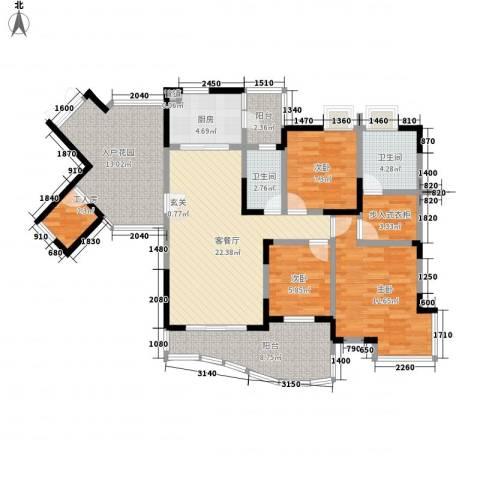 骏逸天下3室1厅2卫1厨130.00㎡户型图