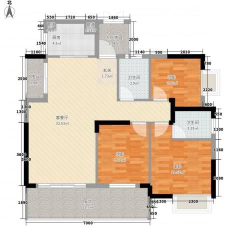 时代花园3室1厅2卫1厨89.54㎡户型图