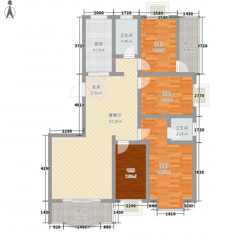 龙江明珠135.41㎡B8户型4室2厅2卫1厨