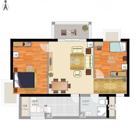 丽都东镇滨河1号别墅2室1厅1卫1厨101.00㎡户型图