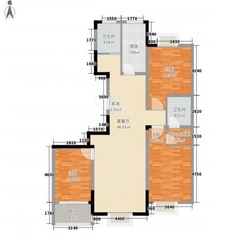 兴业・王府花园二期3室1厅2卫1厨115.45㎡户型图