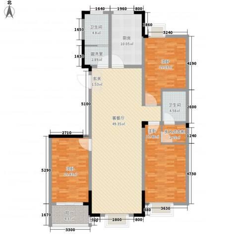 兴业・王府花园二期3室2厅2卫1厨142.00㎡户型图