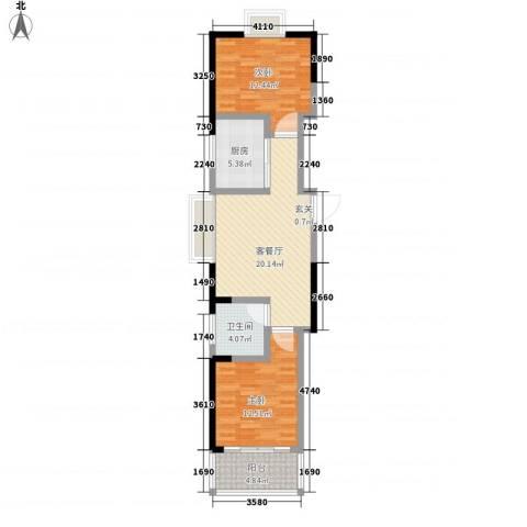 兴业・王府花园二期2室1厅1卫1厨59.38㎡户型图