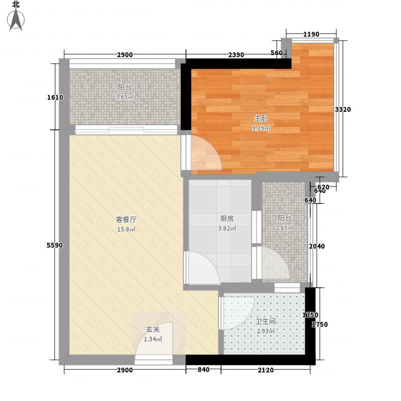 益田大运城邦51.41㎡1栋2单元-03-06户型1室2厅1卫1厨