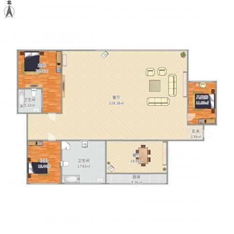 朝阳花园3室2厅2卫1厨274.00㎡户型图