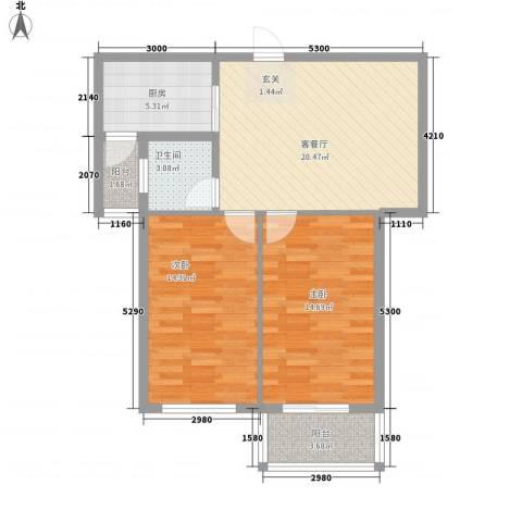 府锦花园2室1厅1卫1厨63.22㎡户型图