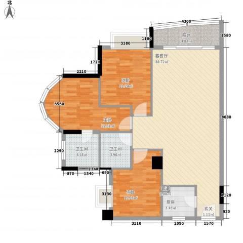 亿海湾3室1厅2卫1厨125.00㎡户型图