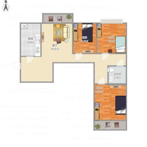 左安浦园3室1厅1卫1厨117.00㎡户型图