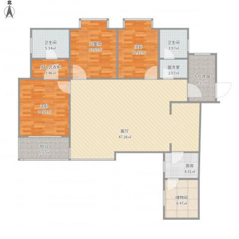 世通和府3室2厅2卫1厨135.00㎡户型图