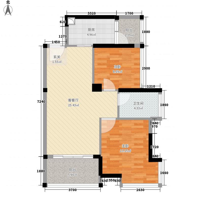 益田大运城邦78.00㎡D1户型2室2厅1卫1厨