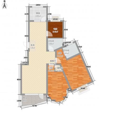 胥江华庭3室1厅2卫1厨126.00㎡户型图