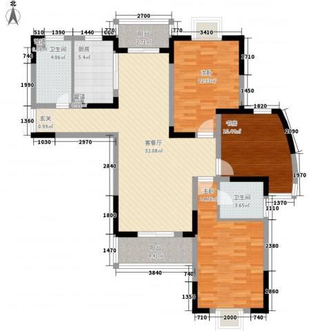 南湖家苑(二期)3室1厅2卫1厨132.00㎡户型图