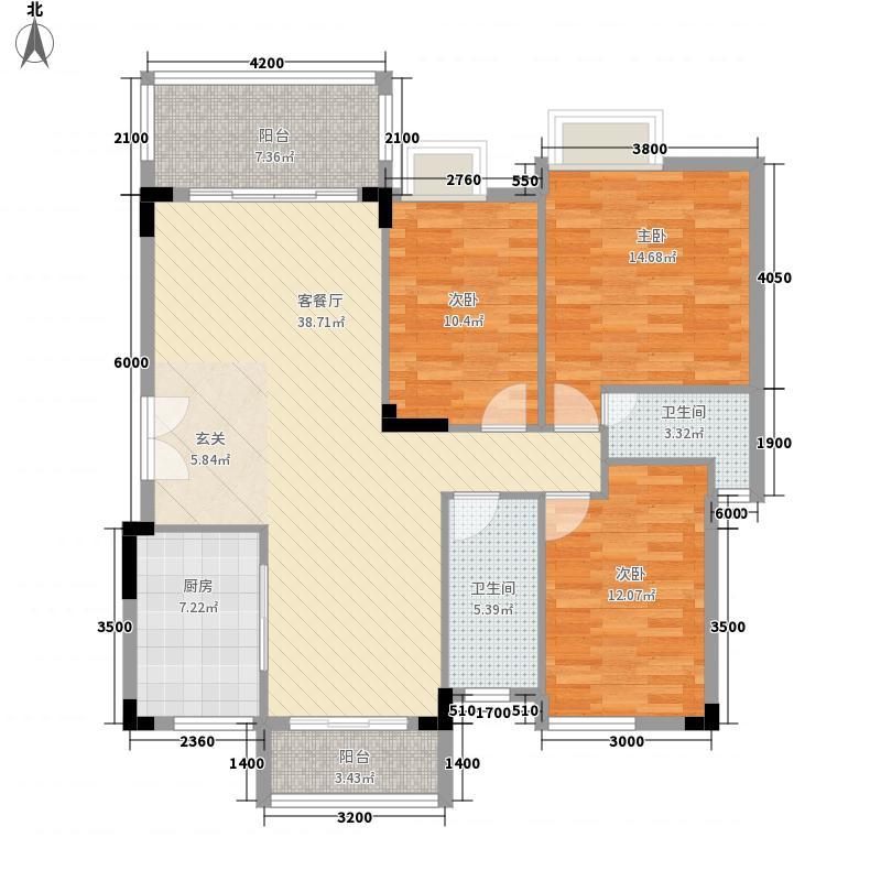 万科城市风景112.00㎡户型3室2厅2卫1厨