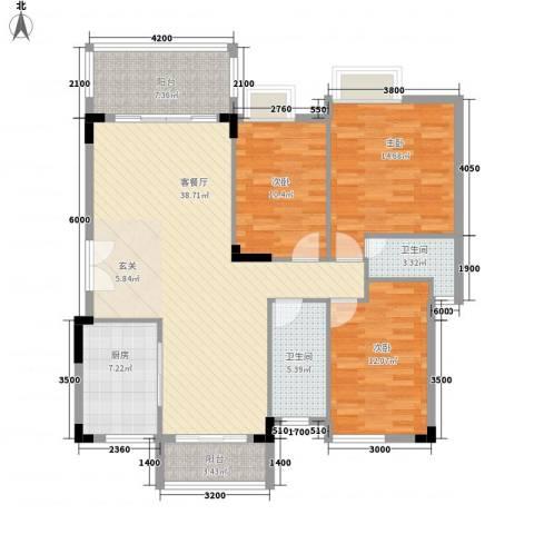 万科城市风景3室1厅2卫1厨112.00㎡户型图
