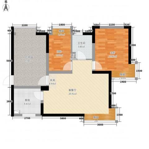 曲江城市花园2室1厅1卫1厨91.00㎡户型图