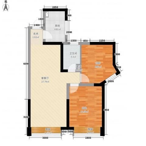 曲江城市花园2室1厅1卫1厨86.00㎡户型图