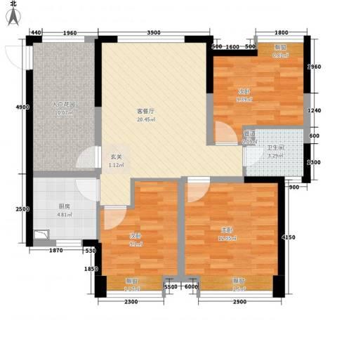 曲江城市花园3室1厅1卫1厨90.00㎡户型图