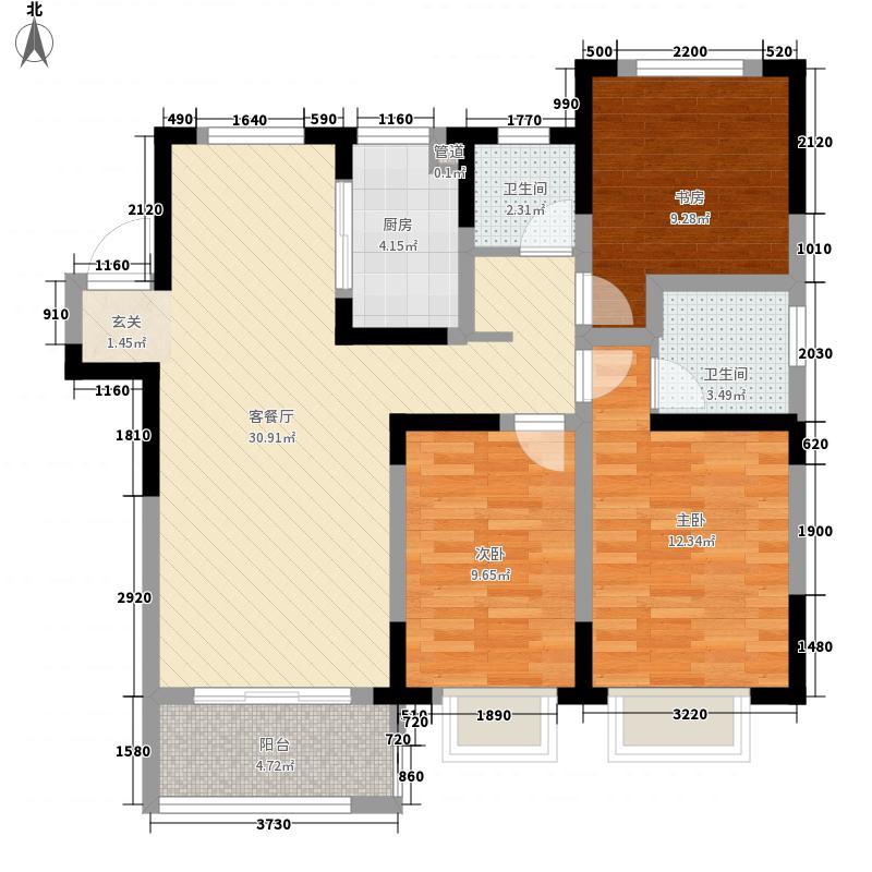 东方名邸113.00㎡D户型3室2厅1卫1厨