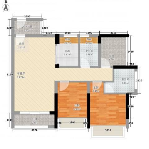 滨江一号2室1厅2卫1厨90.00㎡户型图