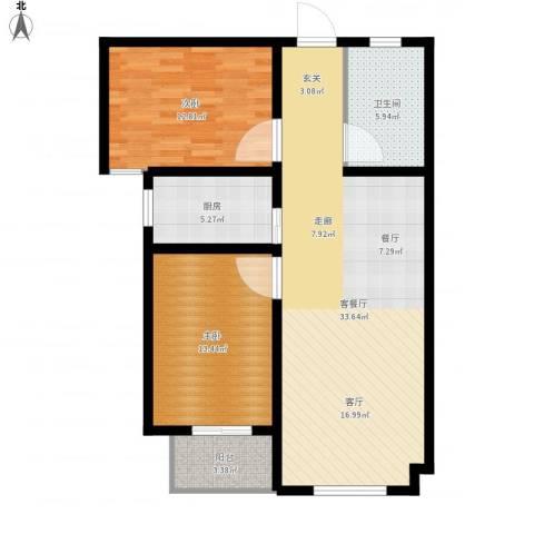 直隶尚都2室1厅1卫1厨106.00㎡户型图