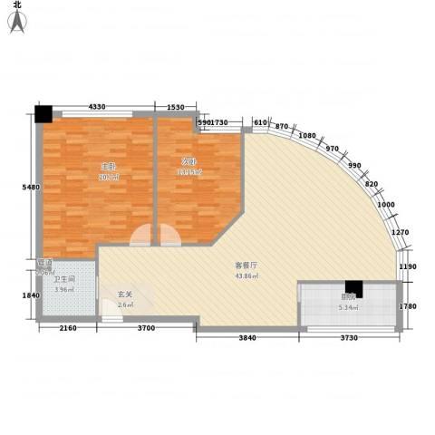 汉江阳光城2室1厅1卫1厨117.00㎡户型图